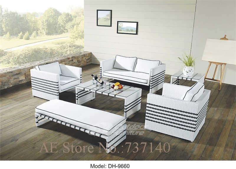 Ratán Muebles de Jardín sofá blanco mimbre al aire libre Muebles de ...
