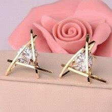 Fashion Elegant Hollow Out Geometric Stud Earrings for Women Triangle Zircon  Earrings brincos Jewelry