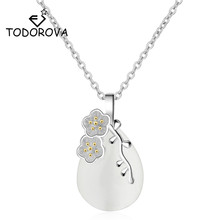 Todorova Vintage Water Drop Shaped Opal Pendant Necklace Cherry Blossom Branch Leaves Chokers Necklaces for Women Jewelry vintage faux opal floral necklace jewelry for women