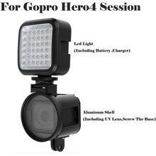 غطاء حماية مكون من 4 أجزاء من فيلم Go pro hero 5 مصنوع من الألومنيوم غطاء عدسة UV + مصباح ضوء فلاش لجلسة Gopro hero4 5 5s 4s