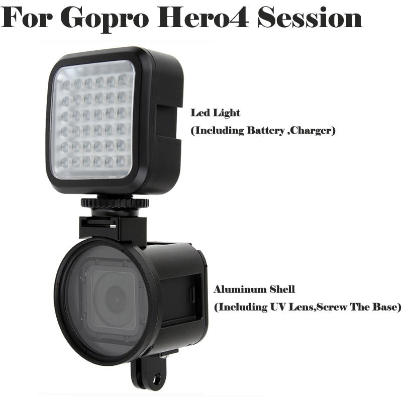 все цены на Go pro hero 4 session Hero 5 Aluminium Protective Case Housing Shell UV lens cover + flash light for Gopro hero4 5 session 5s 4s онлайн