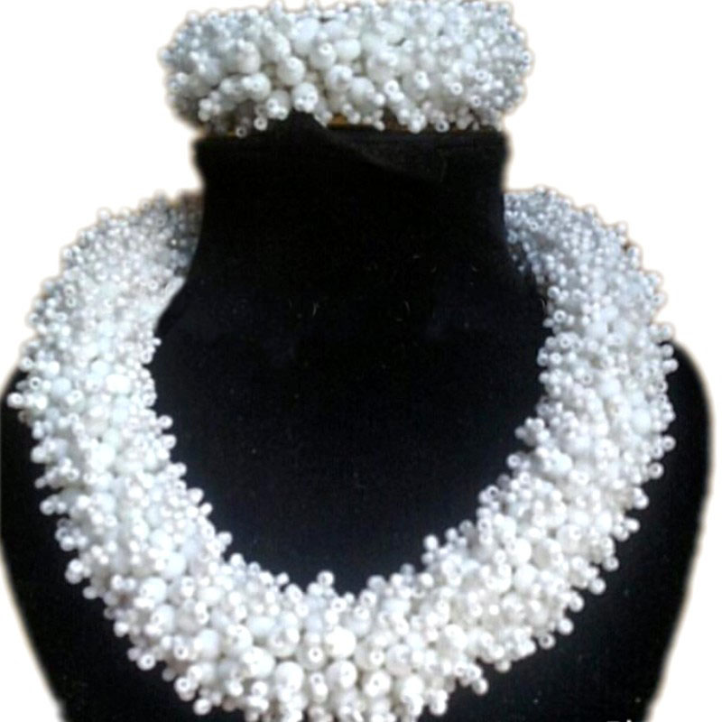 4UJewelry Satement White Necklace Set Bold Style Braid Crystal Nigerian Wedding Beads Set For African Women Free Shipping 20194UJewelry Satement White Necklace Set Bold Style Braid Crystal Nigerian Wedding Beads Set For African Women Free Shipping 2019