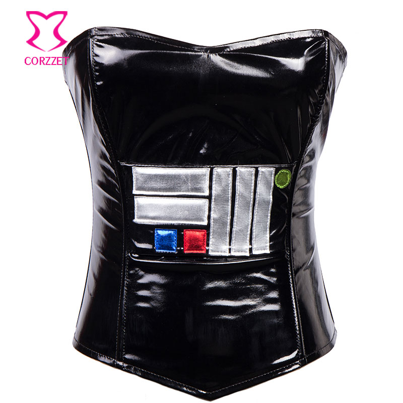 Burlesque Black PVC Leather Zipper Ovebust   Corset     Bustier   Top Cosplay Star Wars   Corsets   And   Bustiers   Sexy Punk Gothic Clothing