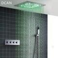 DCAN Großhandel Luxus 20 Zoll High Flow Edelstahl Decke Dusche Köpfe System Thermostat LED Dusche Wasserhahn