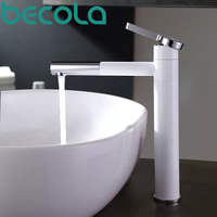 Basin Faucets Brass Bathroom Faucet Vessel Sinks Mixer Vanity Tap Swivel Spout Deck Mounted White Color Washbasin Faucet LT 701B