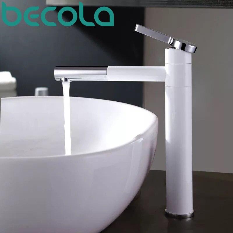 Robinets de bassin en laiton salle de bains robinet navire éviers mélangeur vanité robinet pivotant bec monté sur le pont de couleur blanche lavabo robinet LT-701B