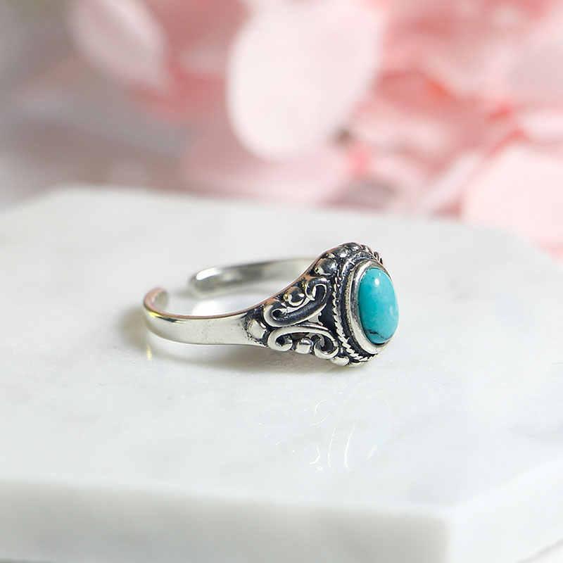 สง่างาม 925 แหวนปรับ Vintage Turquoise แหวน 925 เงินสเตอร์ลิงแหวนผู้หญิง 925 เครื่องประดับ