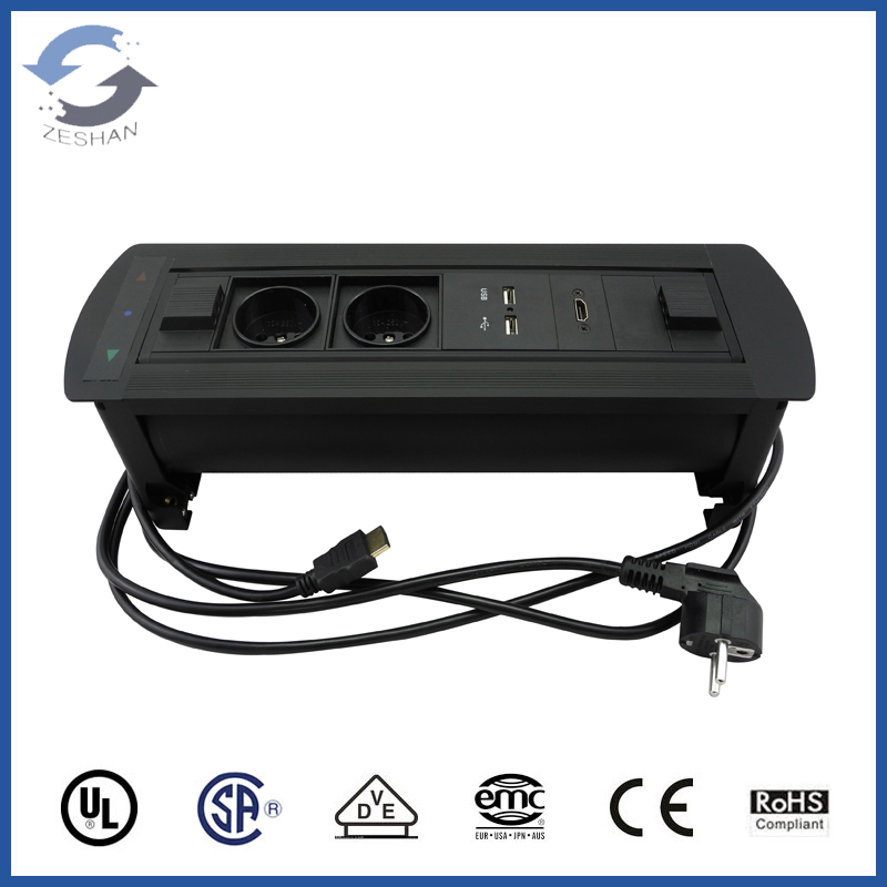 JXP-4 Black European Power / USB charger Flipping Electric Desktop Socket