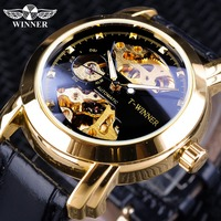 Winner Classic Royal Retro Design Golden Skeleton Mens Wristwatch Top Brand Luxury Mechanical Automatic Watches  Luminous Hands