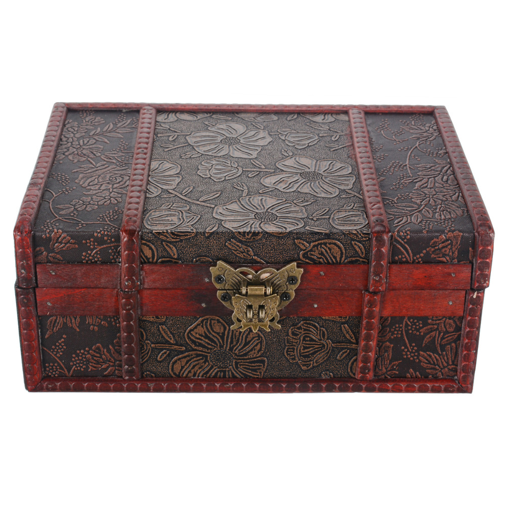 Mayitr Large Wooden Jewelry Lock Box Wood Decorative Retro Lock Chest Handmade Trinket Storage Box For Home Craft Container-in Storage Boxes ...