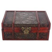 Mayitr Large Wooden Jewelry Lock Box Wood Decorative Retro Lock Chest Handmade Trinket Storage Box For Home Craft Container