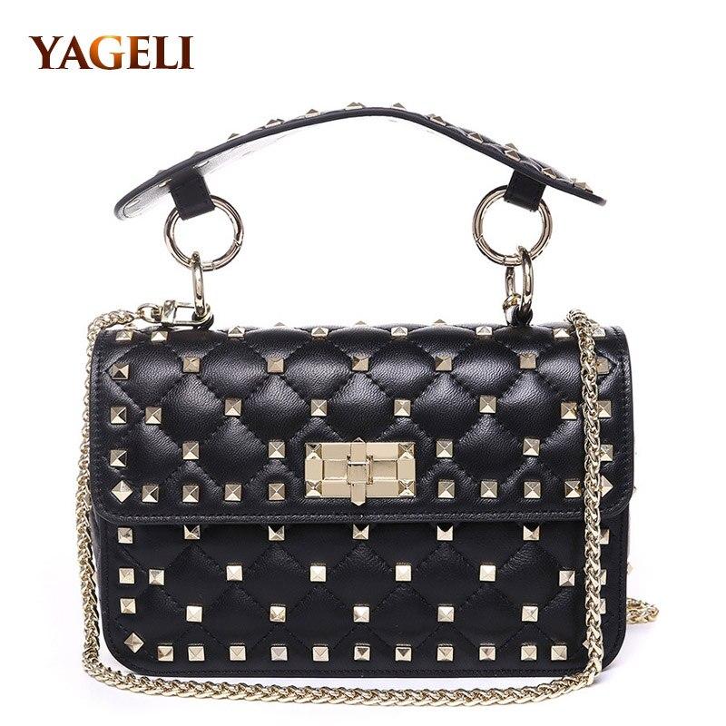 2018 INS hot genuine leather women handbag luxury handbags women bags designer brand rivet design leather ladies' shoulder bags