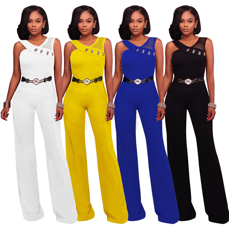 Women Summer Jumpsuit Office Ladies Work Wear Elegnt With Waist Belt Overalls Patchwork Classy Sleeveless Slim Modest Clothing