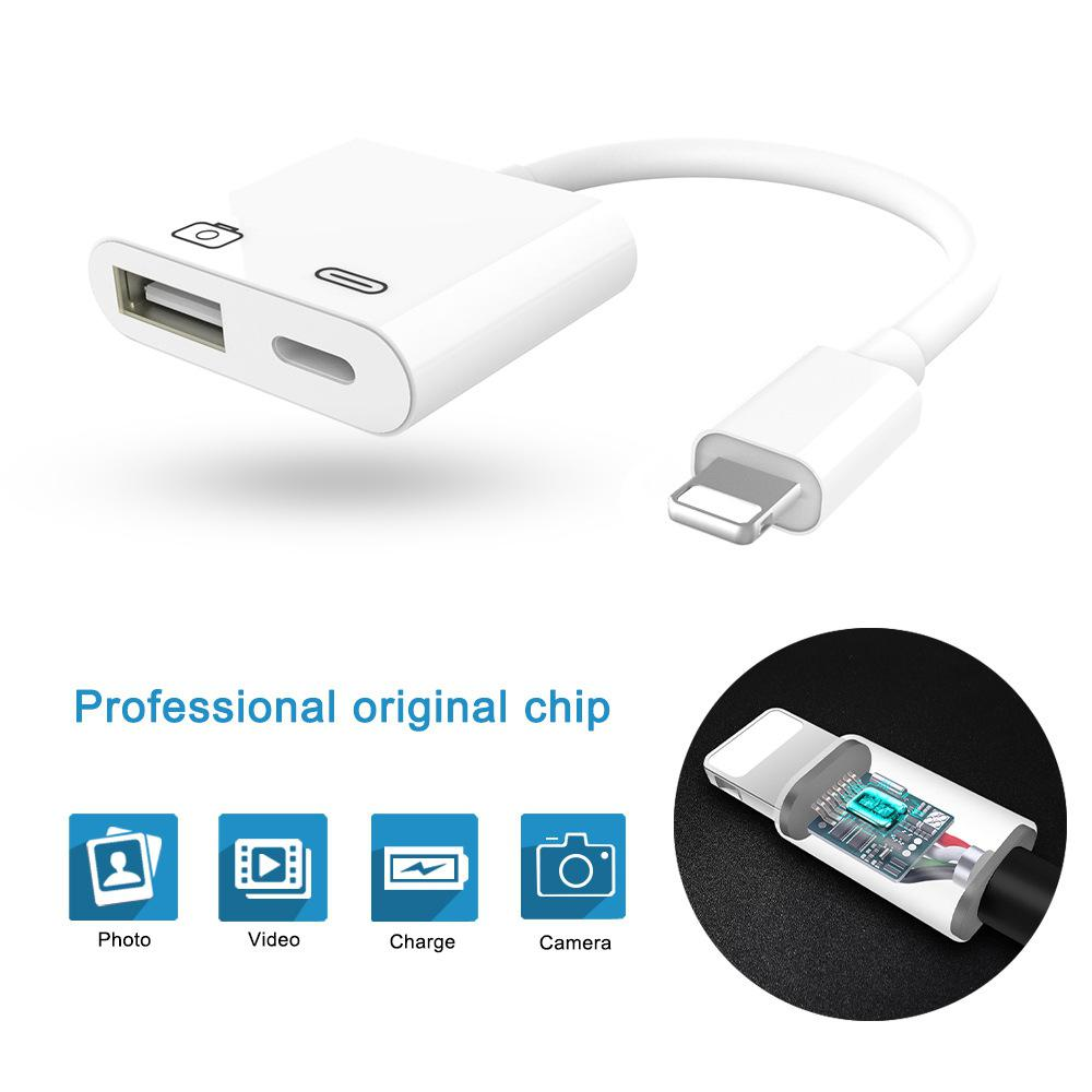 USB Camera Adapter USB 3.0 Female OTG Adapter With Charging Interface Data Sync Charge Cable For IPhone X 8 7 6 Plus IPad