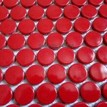 11 квадратных футов красная Пенни Круглая Керамическая мозаичная плитка кухня щиток Ванная комната Душ обои камин украшения границы