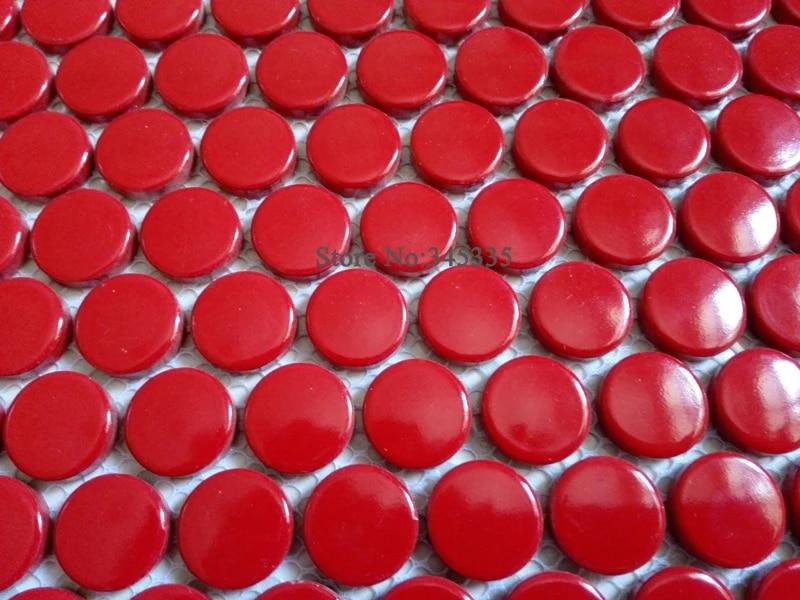 11square feet red penny round ceramic mosaic tile kitchen backsplash bathroom shower wall paper fireplace border decoration