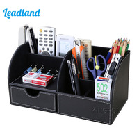 Kingfom Multi Functional Storage Organizer Office Stationery Holders Remote Controller Box With Wooden Structure PU Leather