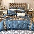 Luxus Blau 120 s Ägyptischer baumwolle Stickerei Royal bettwäsche sets Königin König Beste bettbezug bettlaken set Kissenbezüge 4/6 stücke|Bettwäsche-Sets|   -