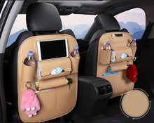 цены Multi-pocket Car Back Seat Storage Bag Chair Back Bag Cover Organizer Multifunction Vehicle Water Cup Holder Beige YY-2