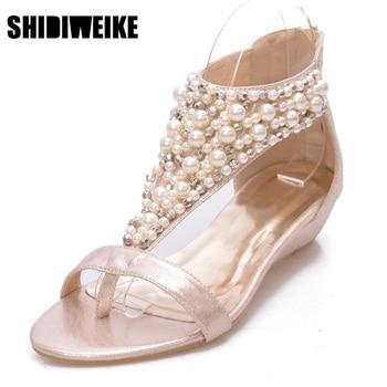 SHIDIWEIKE Gladiator Sandals Summer Style Flip Flops Elegant Platform Shoes Woman Pearl Wedges Sandals Casual Women Shoes b952 римские сандали