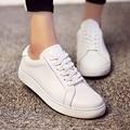 2016 весна женщины повседневная обувь женщины из натуральной кожи квартиры обувь одного женского шнуровке белый лодка обуви 9362