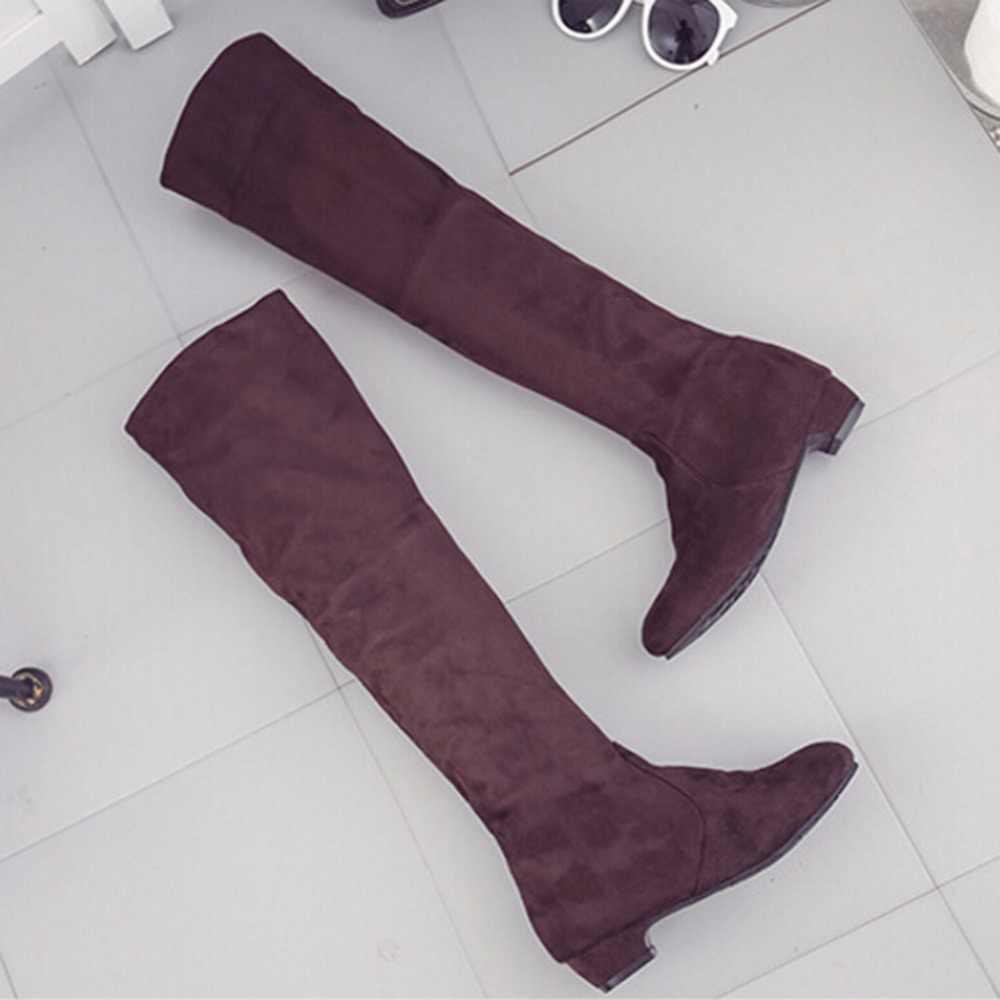 Kadın Yüksek Çizmeler Ayakkabı Moda Kadınlar Diz Yüksek Çizmeler Sonbahar Kış Bota Feminina Uyluk Yüksek Çizmeler
