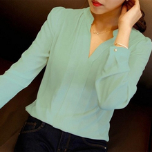 BBYES Solid Color Fashion Women Shirts V Neck Long Sleeve Blouse Autumn Casual Brief Style Female Chiffon Shirt
