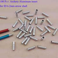 100 Pcs Archery Arrow Aluminum insert for ID 6.0 6.2 7.6mm Arrow shaft 6.2mm carbon arrows fiberglass arrow Free shipping