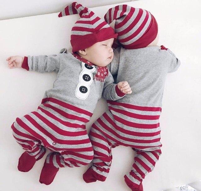 54551cbbe700 Baby Onesie Christmas Romper Newborn Infant Clothing Red Gray ...