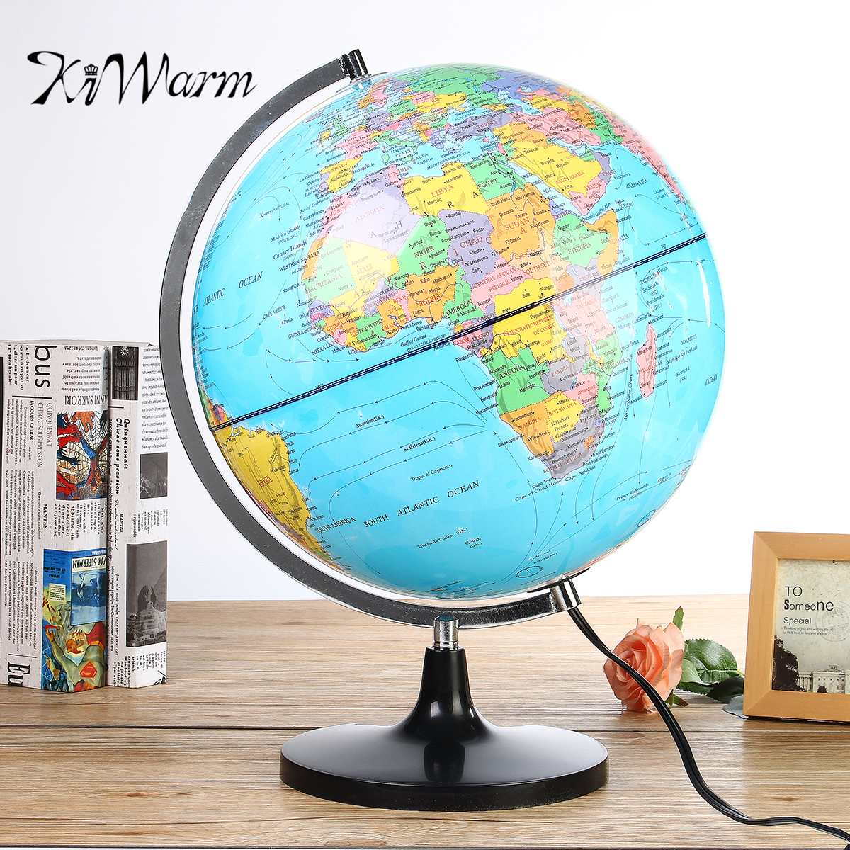 Aerated inflatable world globe ball earth tellurion home decorative kiwarm illuminated blue ocean world earth globe map teaching geography map rotating night light desktop decor gumiabroncs Choice Image