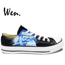 Вэнь Черный Ручная Роспись Обувь Дизайн Пользовательского Наруто Какаши Низкие Верхние Мужчины Женщины Холст Тапки для Подарков