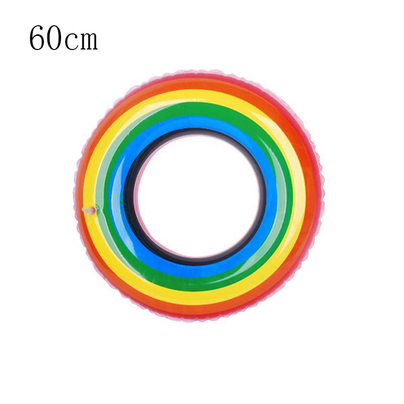 Novel Thicken Rainbow Ring For Summer Swimming Inflatable Pool Floats For Adults Float Rings Swimming Pool Inflatable Toys