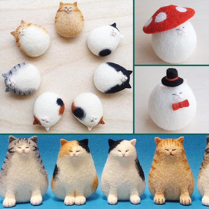 Non-finished DIY Accessories Felt Poke Handmade Needle Wool Felt kits Material Package Cat Kitty Animal Poked Doll Feltings(China)