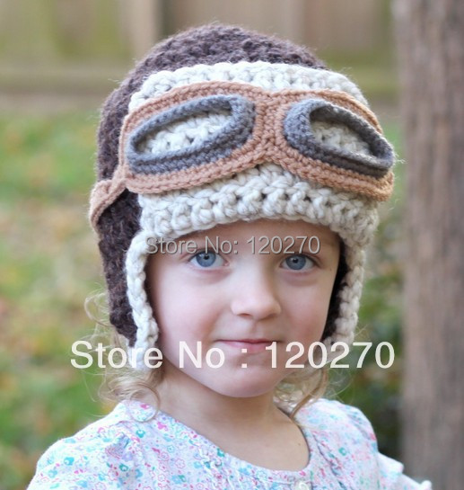 Free Shipping Handmade Crochet Aviator Hat Pattern Knitted Animal Cartoon  Cap Children s Beanie Newborn Infant Toddlers Earflaps fa5fc3dcf08