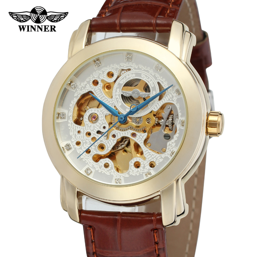 73a1ac90db3 T-Vencedor Relógio Automático de Esqueleto dos homens Moda Casual Pulseira  De Couro Analógico relógio de Pulso Cor de Ouro Original de Fábrica  WRG8078M3