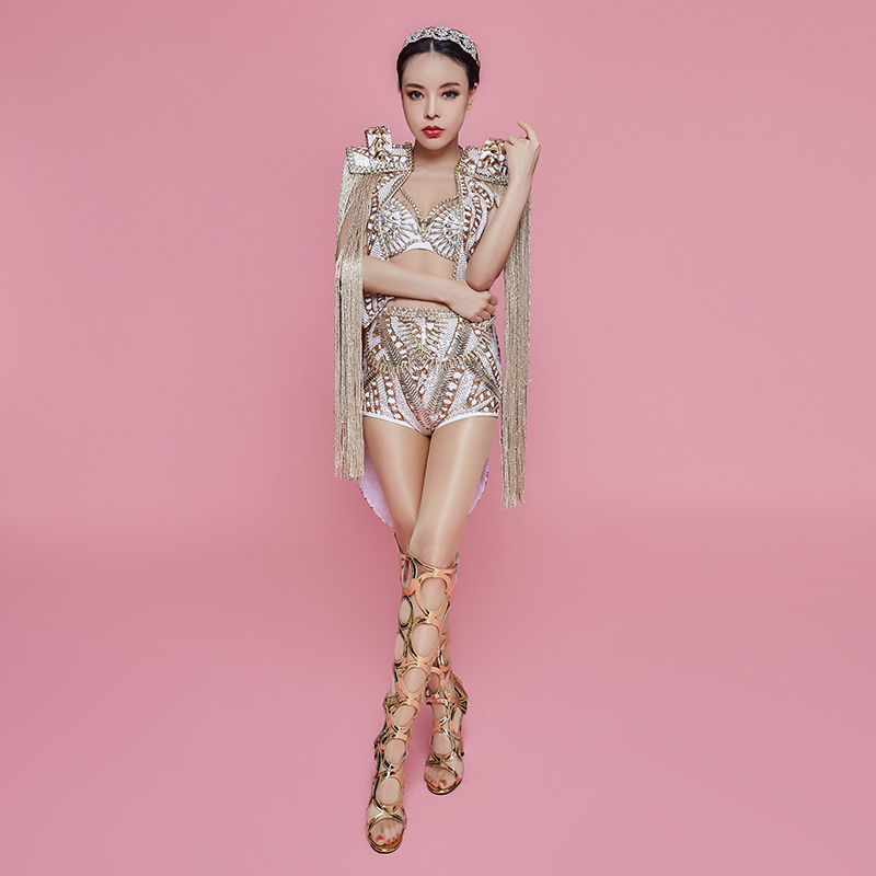 Discothèque femmes leader danseuse Costume Bar chanteur étoile Concert Performance vêtements brillant strass Bikini glands ensembles de manteau - 5