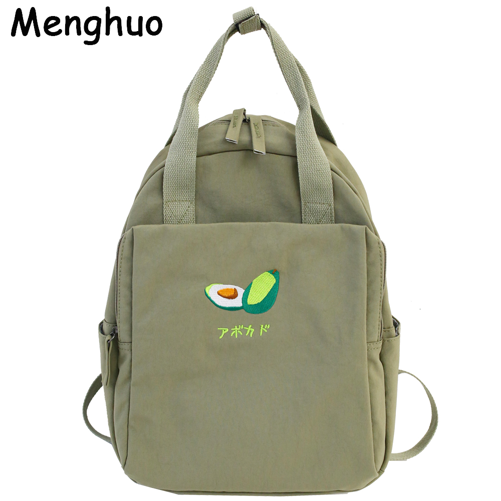 Menghuo New Fruit Embroidery Women Backpack Little Fresh Waterproof Nylon Solid Color Shoulder Bag Girls Schoolbag For Teenagers