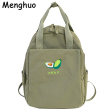 Menghuo nowość owoce hafty kobiety plecak mała świeża wodoodporna nylonowa solidna kolorowa torba na ramię dziewczyny tornister dla nastolatków