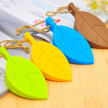 Cute Cartoon Leaf Style Door Stopper Silicon Doorstop Safety For Baby Home Decoration 4 Colors Door Stops