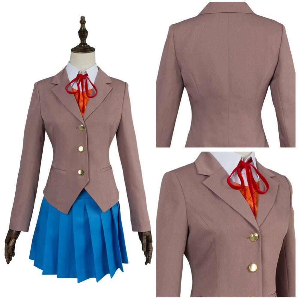Doki Doki Literature Club Sayori Natsuki Yuri Monika Cosplay Costume Girls School Uniform Full Set For Halloween Carnival