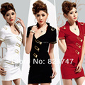 2017 Hot Selling Mounted stewardess Short-sleeve Shirt Skirt 2 pieces Set professional KTV work wear Sexy Suit Cheap wholesale