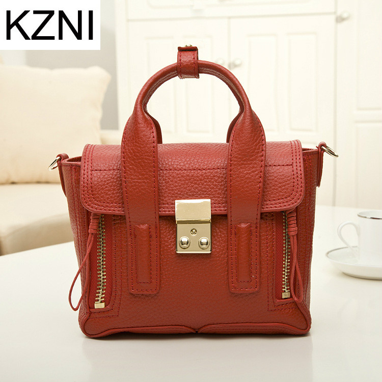 KZNI Genuine Leather Purse Crossbody Shoulder Women Bag Clutch Female Handbags Sac a Main Femme De Marque L030352 women genuine leather character embossed day clutches wristlet long wallets chains hand bag female shoulder clutch crossbody bag