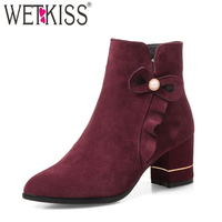 WETKISS Ruffles Ankle Boots Women Pointed Toe Boots Winter 2018 Fashion High Heels Ladies Shoes Short Plush Footwear Big Size 43