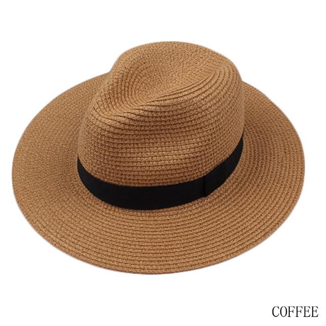 New Fashion Musim Panas pria Sun Topi Jerami Topi Panama Topi Sombrero  Trilby Gangster Cap Summer 6e852e3e69
