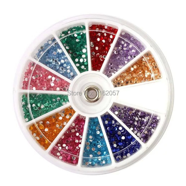 Free Shipping 2MM AB Color 1000pcs Colors 12 Styles AB Rhinestone DIY Nail Art Decoration round Wheel wholesale