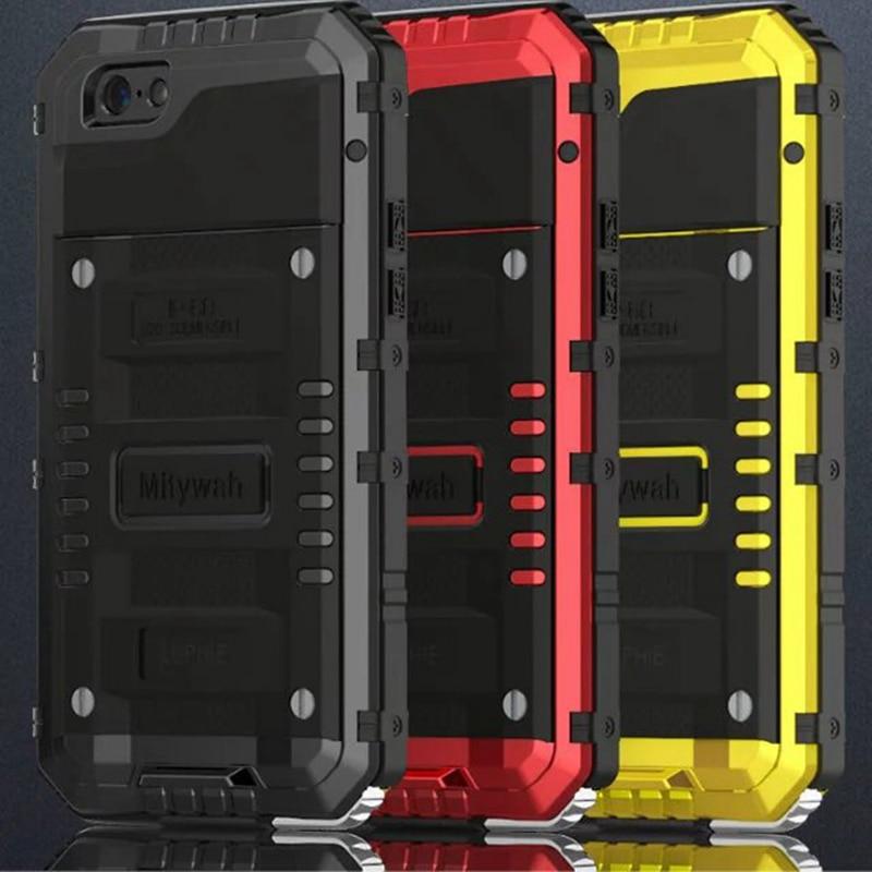 imágenes para LUPHIE Bajo Vida Sellado Caja de Metal A Prueba de Agua Para el iphone 6 6 S 7 Plus Cubierta A Prueba de Golpes de Silicona de Aluminio + Vidrio Templado vidrio