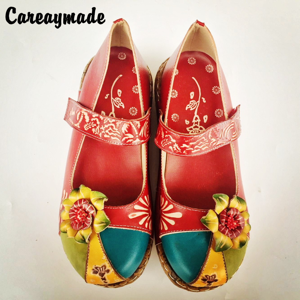 Careaymade-Folk style Head layer cowhide pure handmade Carved shoes,the retro art mori girl shoes,Women's casual Sandals,933-31A huifengazurrcs head layer cowhide pure