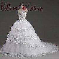 2014 Real Image Ivory Rhinestone Beaded Appliques Sweetheart Tulle Chapel Train Vestido De Noiva Wedding Dress