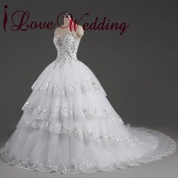 2014 Real Image Ivory Rhinestone Beaded Appliques Sweetheart Tulle Chapel Train Vestido De Noiva Wedding Dress