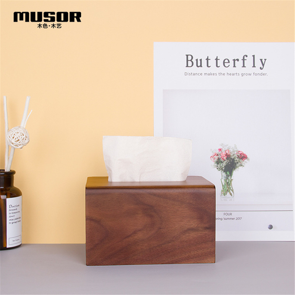 Image 3 - Face towel tray solid wood paper box box napkin box hotel restaurant bedroom wooden tissue box-in Tissue Boxes from Home & Garden
